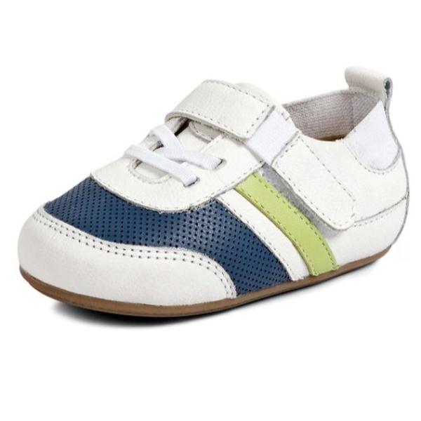 6 - Tenis Bebê Flexy - Branco / Azul Bic / Pistache Neon