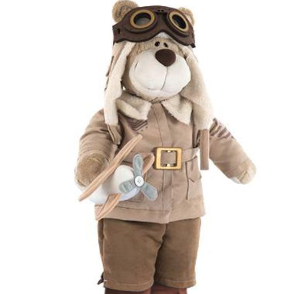 Urso de Pelúcia Bochecha Aviador Antigo 3